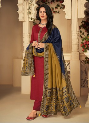 Cotton Maroon Embroidered Designer Palazzo Suit