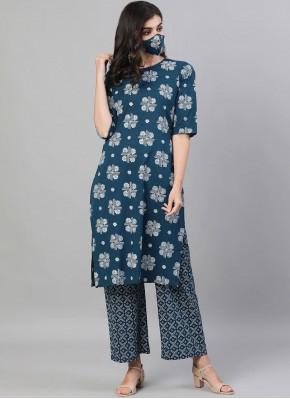 Cotton Navy Blue Designer Kurti