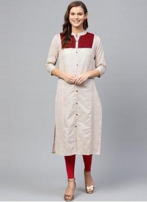 Cotton Off White Party Wear Kurti