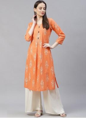 Cotton Orange Party Wear Kurti