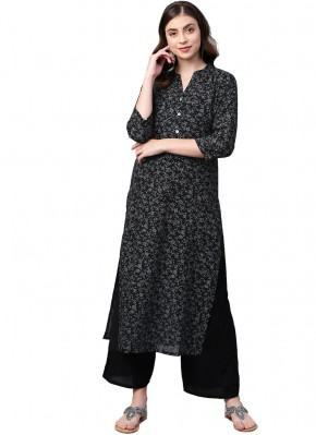 Cotton Party Wear Kurti in Black