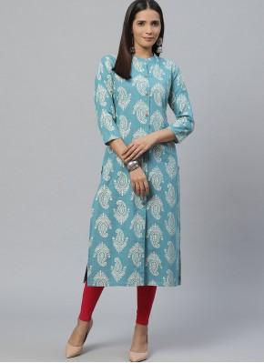 Cotton Party Wear Kurti in Blue