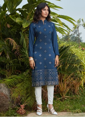 Cotton Party Wear Kurti in Navy Blue