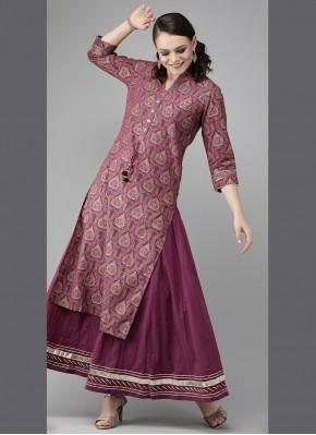 Cotton Party Wear Kurti in Purple