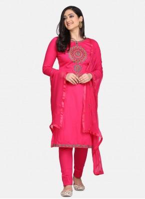 Cotton Pink Embroidered Designer Suit