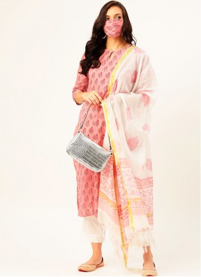 Cotton Pink Print Readymade Suit