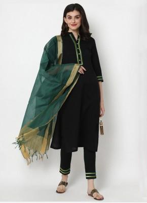 Cotton Plain Designer Salwar Kameez in Black