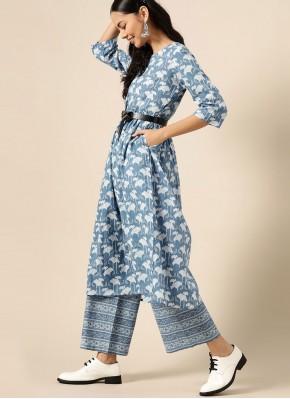 Cotton Print Designer Kurti in Blue