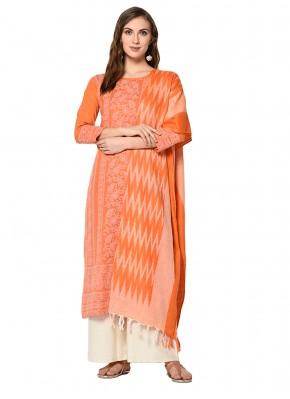 Cotton Print Orange Palazzo Designer Salwar Kameez