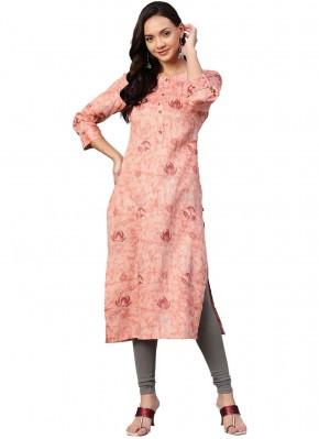 Cotton Print Pink Party Wear Kurti