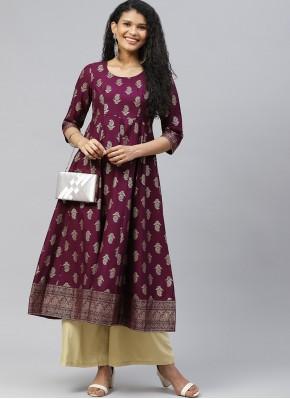 Cotton Print Purple Designer Kurti