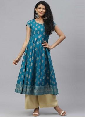 Cotton Print Turquoise Designer Kurti