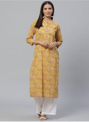Cotton Print Yellow Party Wear Kurti