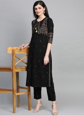 Cotton Printed Black Party Wear Kurti