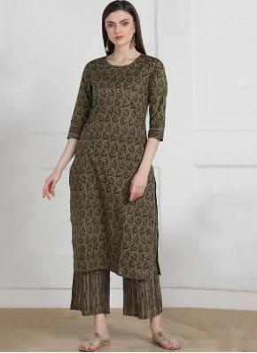 Cotton Printed Brown Designer Kurti