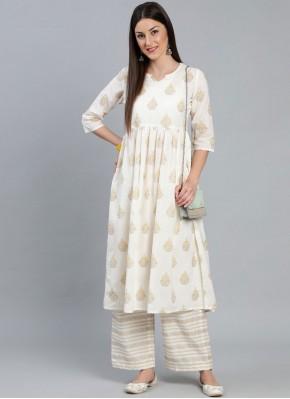 Cotton Printed Cream Designer Kurti