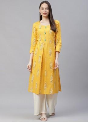 Cotton Printed Designer Kurti in Yellow