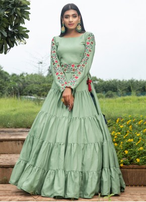 Cotton Printed Floor Length Gown in Green