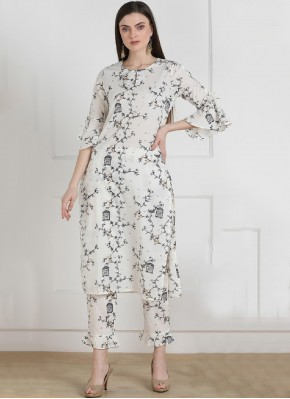 Cotton Printed Party Wear Kurti in White