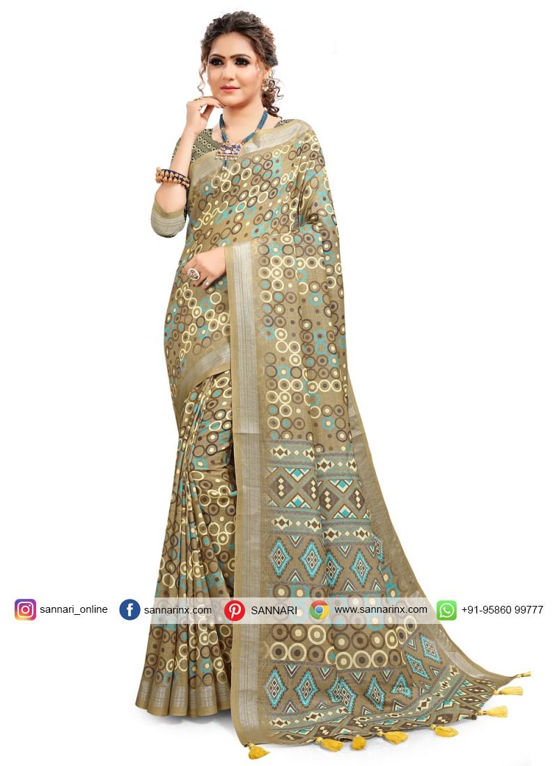 Cotton Printed Saree in Multi Colour