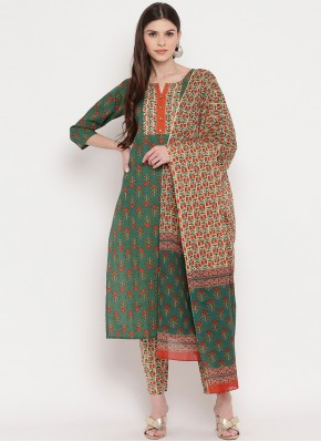 Cotton Readymade Suit in Green
