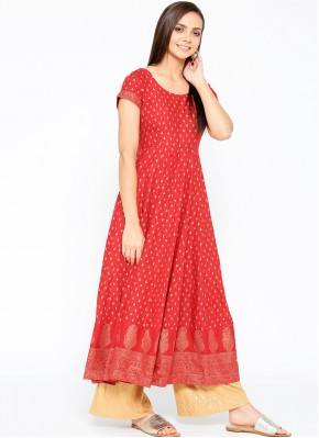 Cotton Red Designer Kurti