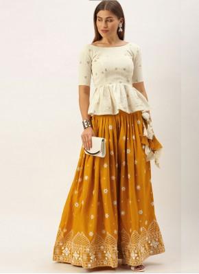 Cotton Resham Bollywood Lehenga Choli in Orange