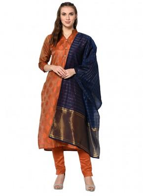 Cotton Rust Abstract Print Salwar Suit