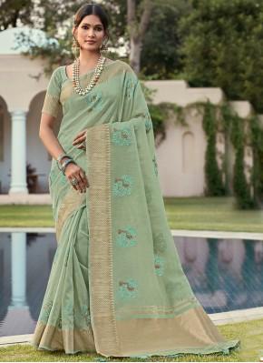 Cotton Sea Green Weaving Classic Saree