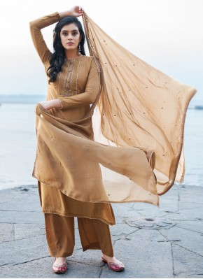 Cotton Silk Embroidered Pant Style Suit in Brown