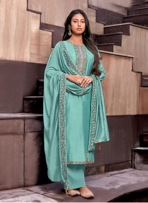 Cotton Silk Handwork Palazzo Designer Suit in Blue