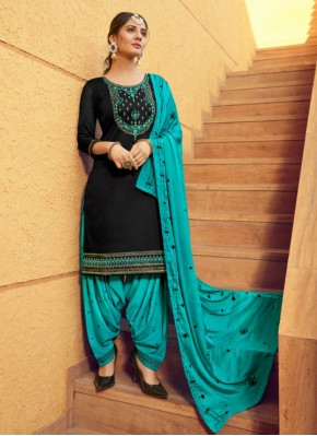 Cotton Silk Patiala Suit in Black
