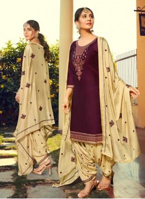 Cotton Silk Purple Print Patiala Suit