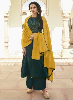 Cotton Teal Designer Pakistani Suit