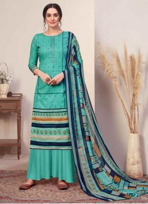Cotton Turquoise Print Designer Palazzo Suit