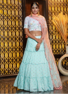 Cotton Weaving A Line Lehenga Choli in Aqua Blue