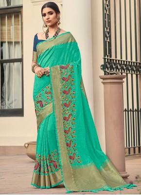 Cotton Weaving Turquoise Trendy Saree