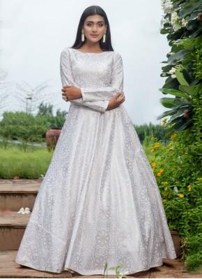 Cotton White Floor Length Trendy Gown