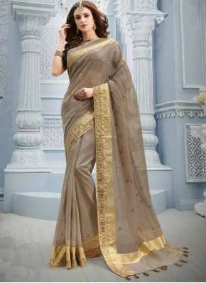 Cotton Zari Contemporary Saree in Beige