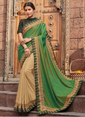 Cream and Green Color Classic Saree