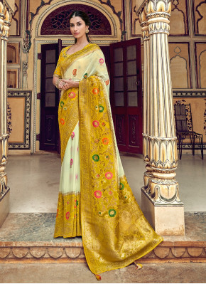 Cream and Mustard Silk Floral Motif Woven Saree with Designer Blouse