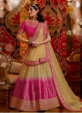 Cream and Pink Silk Semi Stitched Lehngha Choli for Bridal