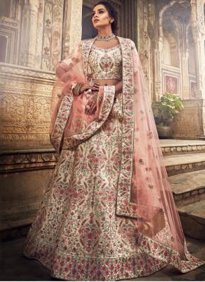 Cream Art Silk Designer A Line Lehenga Choli