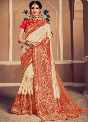 Cream Banarasi Silk Weaving Classic Saree