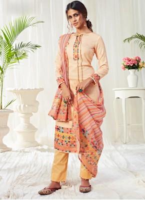 Cream Ceremonial Cotton Designer Salwar Kameez