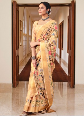 Cream Color Printed Saree