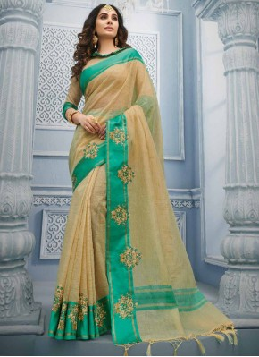 Cream Cotton Contemporary Saree