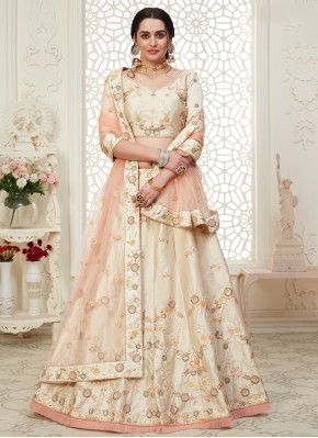 Cream Embroidered A Line Lehenga Choli
