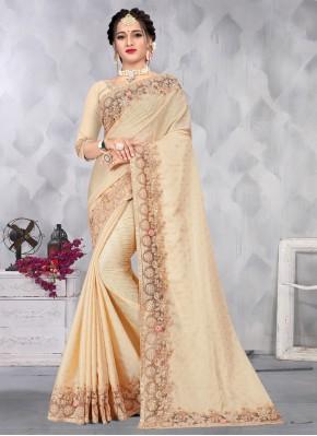 Cream Embroidered Designer Saree