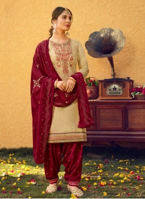 Cream Festival Patiala Suit
